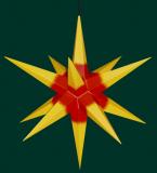 gelb mit rotem Kern